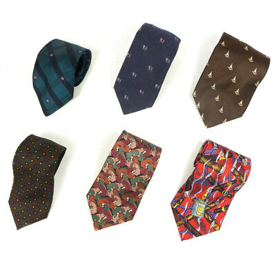 Mixed Lot of 6 Vintage Men's Dresswear Color, Mixed Patterned Neck Ties