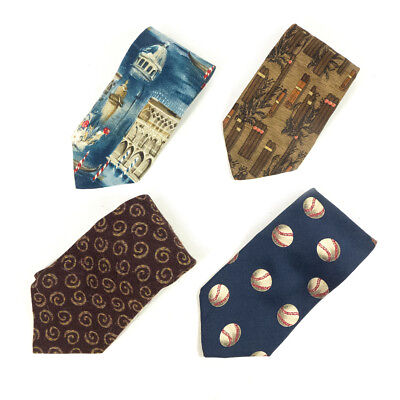 #16 Mixed Lot of 4 Vintage Men's Dresswear Color, Mixed Patterned Neck Ties