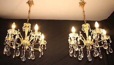 A VINTAGE PAIR OF  FRENCH BRASS CHANDELIERS 5 ARM CEILING LIGHTS (oc10)