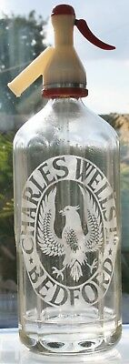 """""""CHARLES WELLS, BEDFORD"""" Eagle Pictorial Brewery Etched Glass Soda Syphon"""