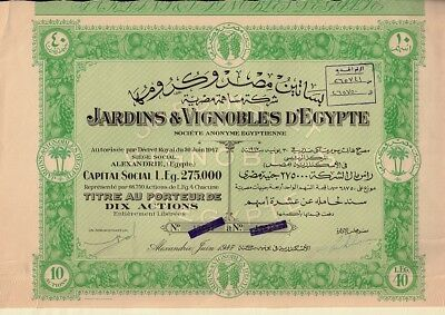 EGYPT Winery : Jardins & Vignobles  d'Egypte Alexandria dd 1947 - 10 share