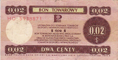 2 Cents Fine Foreign Exchange Note From Poland 1979!!