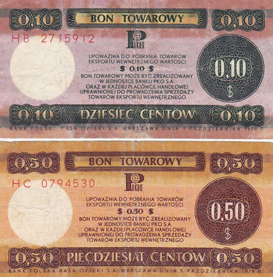 10&50 Cents Vg Foreign Exchange Note From Poland 1979!!
