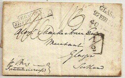 """1819 ST KITTS ENTIRE->GLASGOW ROMNEY SHIP LETTER KENT w/""""BY BRIG FORTITUDE""""+½"""