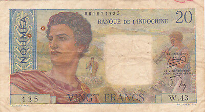20 Francs Fine Banknote From France/new Caledonia 1954!pick-50