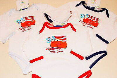 Disney Baby Cars 3 Pack Vests Bodysuit 5 Sizes Official Lightning Mcqueen New