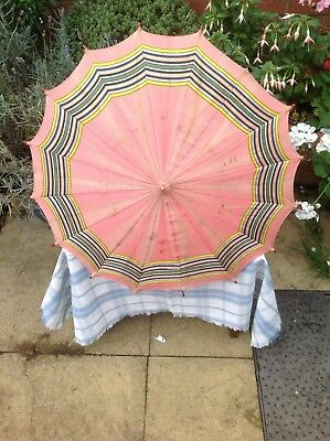 EDWARDIAN Pink Silk & Striped PARASOL With Wood Turned Handle