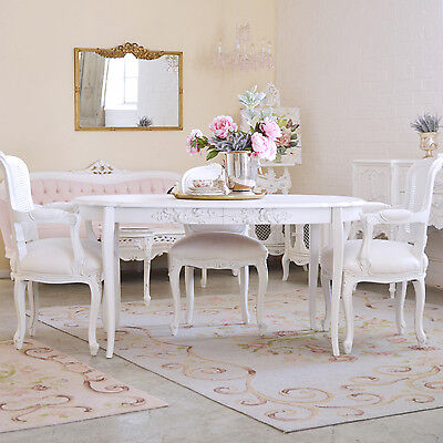 Shabby Cottage Chic Oval Dining Table French Style Vintage Roses White