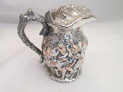 A Very Unusual Silver Plated Beer Jug - 19thC - Sheffield Make - Fauns & Satyrs