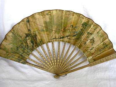 Attractive Antique Printed Fan-Cherubs-Reverse Autographs