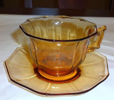 Cambridge Glass DECAGON Amber Cup & Saucer Set EXC 3 Available