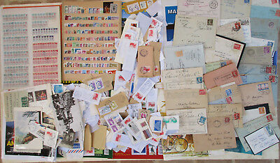 Vrac timbres, CPA, lettres, revues, documents divers, coupons tous pays  WD08