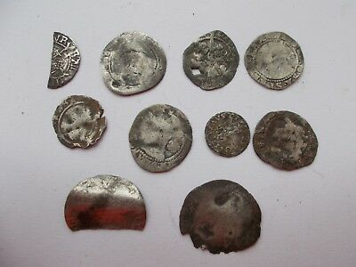 Qty 10 Medieval Hammered Silver Coins,damaged/unidentified (Lot 3)