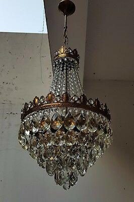 Antique French Basket Style Brass & Crystals Beautiful Chandelier from 1950's