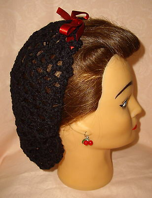 Hair Snood (Black With Red Ribbon-Handmade-1940's Style)