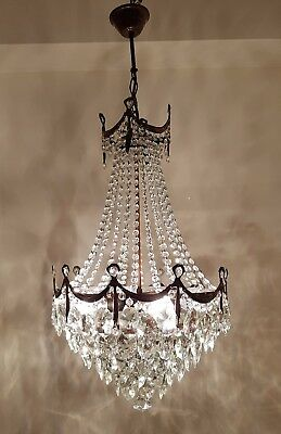 Antique French Basket Style Brass & Crystals beautiful LARGE Chandelier from 195