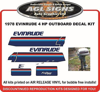 1978 EVINRUDE 4 hp Reproduction Decal Kit   sticker