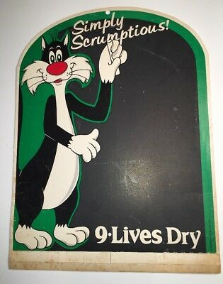 Sylvester The Pussy Cat 9 Lives Cat Food Cardboard Sign Chalkboard Cartoon