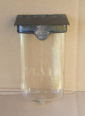 Antique Glass Mailbox w Metal Lid