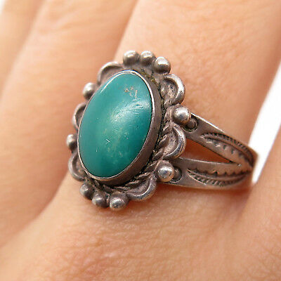 Bell Trading Post Old Pawn 925 Sterling Silver Easter Turquoise Tribal Ring