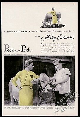 1953 champion Brown Swiss cow photo Peck and Peck Hadley Cashmere sweater ad