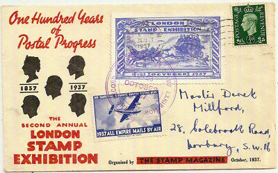 1937 London Stamp Exhibition 100 years w/Empire Airmail label Pictorial Env
