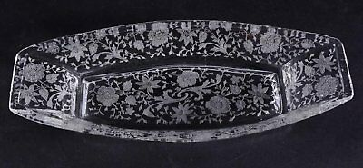 Vintage 1930/40 Cambridge  Etched Glass Wildflower Celery Dish