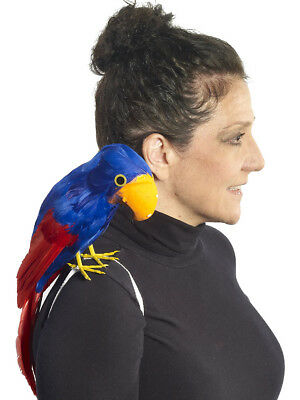 "16"" Buccaneer Pirate Costume Accessory Red Blue Parrot on Shoulder"