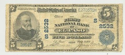 1902 $5 National Banknote from Charter 2532 El Paso, Texas no reserve