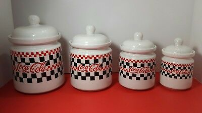 Four Piece Coca Cola 1997 Canister Set W/Lids Checker Board Design Gibson China