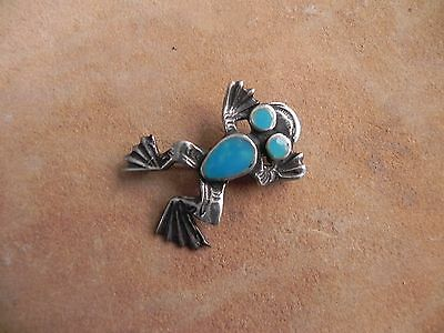 Sandcast Sterling Silver & Turquoise  FROG Pin Brooch Navajo