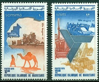 Mauritania Scott #334-335 MNH Mining and Industry Map Camel $$