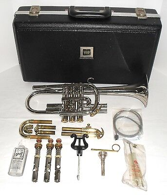 King Tempo Cornet Nickle SIlver & Brass Original Case Brushes Oil & Lyre 1975-80