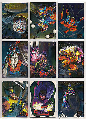1995 Marvel Ultra X-Men Complete Rainbow Hunters & Stalkers Chase Card Set Nm