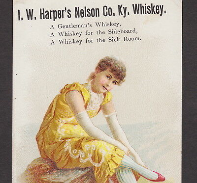 I.W. Harpers Nelson Co KY Whiskey Saloon Girl Catlettsburg Cure Advertising Card