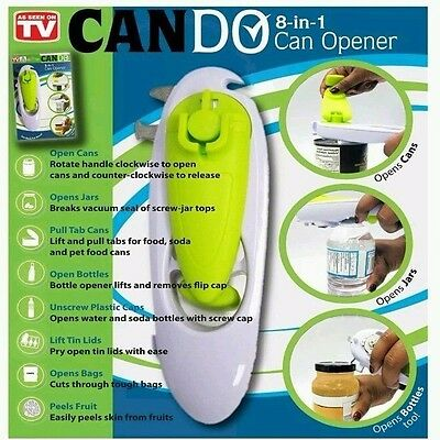 CANDO 8-in-1 Kitchen Tool Can Opener Bottle Jar Screw Caps open Steel Cutter