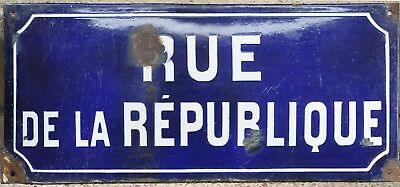 Old French enamel steel street sign road plaque name Republique Nolay Burgundy