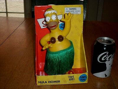 THE SIMPSONS -- HULA HOMER, BATTERY OPERATED & SINGS, Plastic Bobble Hips Statue