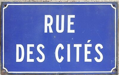 Old French enamel street sign road plaque Rue Cites Cities Paris Aubervilliers