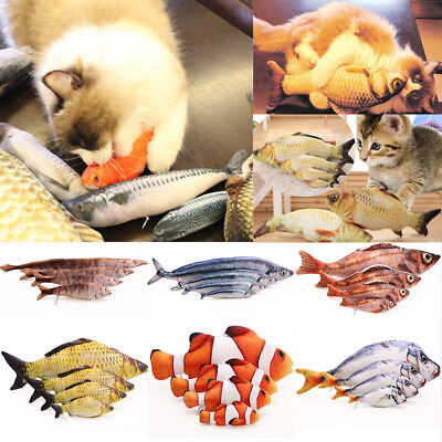 Fish Shape  Interactive Toy Pet Kitten Cat Mint Play Velvet Catnip Chewing