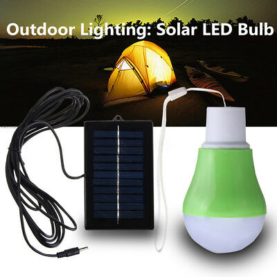 Portable LED Bulb with Solar Panel Outdoor Light Camping Hiking Tent Lamp