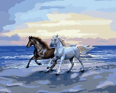 16X20'' XMAS gift Running Horse Background Paint By Number kit On Canva 2297