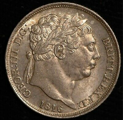Sixpence George III 1816 UNC Natural Tone .925 Silver