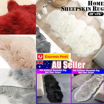 100CM DOUBLE Genuine Premium Soft Sheepskin Lambskin Rug Pelt White Grey Black