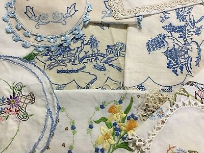 Bulk Vintage Mixed Cotton Hand Embroidered Doilies - Blue Willow - Floral Etc