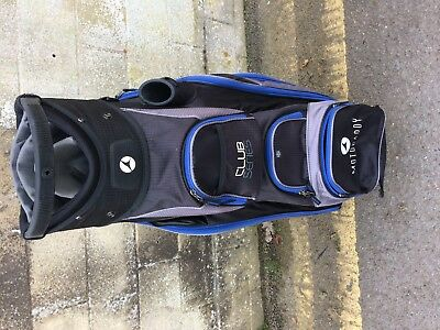 "Motocaddy ""club Series""cart Bag, Blue/black, Good Condition, Torn Grab Handle."