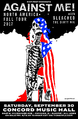 """Against Me! / Bleached / The Dirty Nil """"fall Tour"""" 2017 Chicago Concert Poster"""