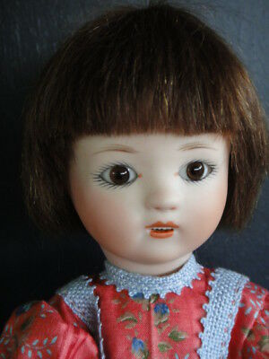LOULOTTE® porcelain Doll. Brown eyes BLEUETTE story -Made in France by  BRAVOT-
