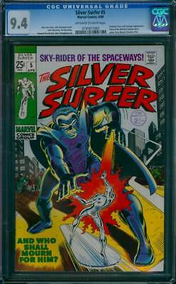 Silver Surfer # 5  And Who Shall Mourn for Him ?  CGC 9.4 scarce book !