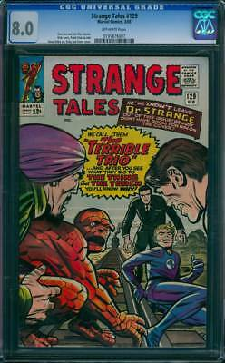 Strange Tales # 129  We Call Them the Terrible Trio !  CGC 8.0  scarce book!